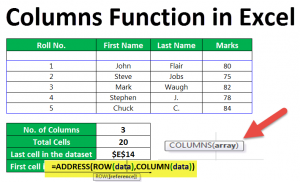 Columns Function in Excel