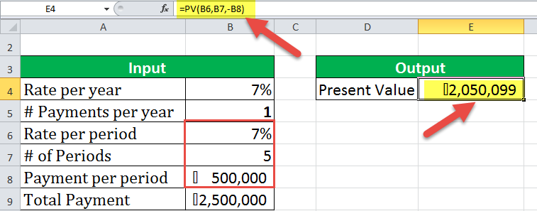 PV Function Excel Example - 1-1