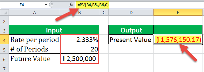 PV Function Excel Example - 3