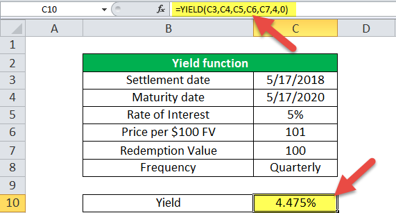 Yield Function in Excel (Example - 1)