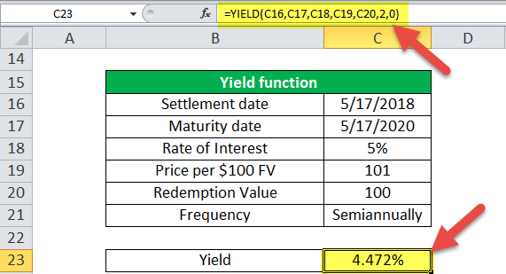 Yield Function in Excel (Example - 2)