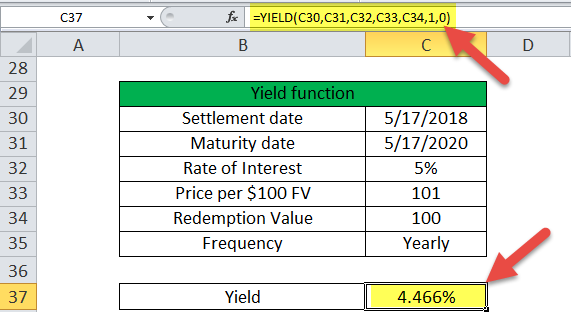 Yield Function in Excel (Example - 3)