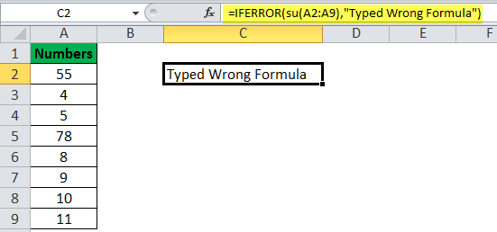 IFERROR Function Example 10