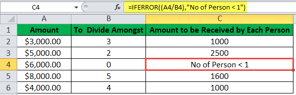 IFERROR Function Example 6