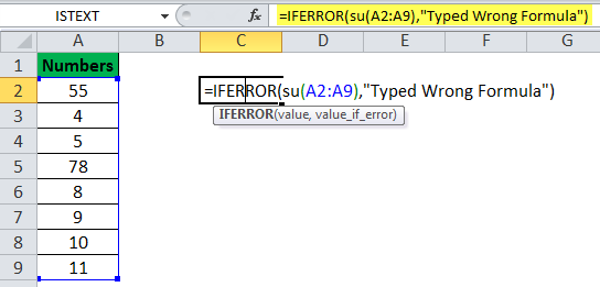 IFERROR Function Example 9
