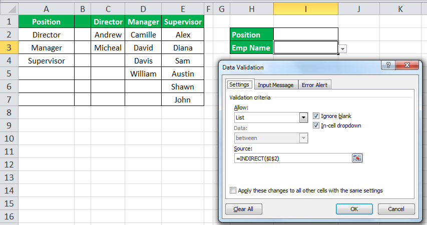 INDIRECT Function in Excel Example 1-37