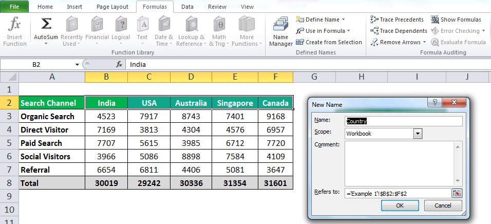 INDIRECT Function in Excel Example 1-6