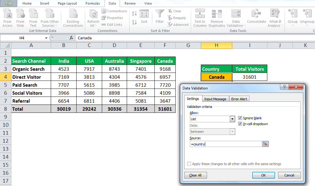 INDIRECT Function in Excel Example 1-7