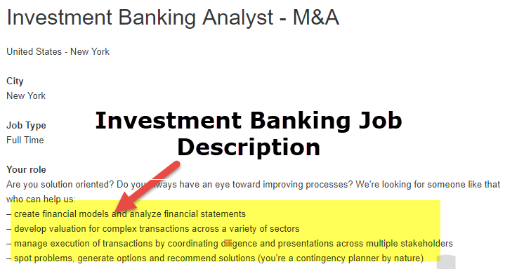 Investment Banking Job Description