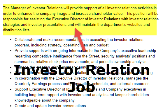 investor relation job description