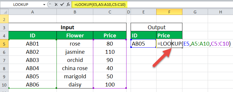 LOOKUP Function Example 1-1