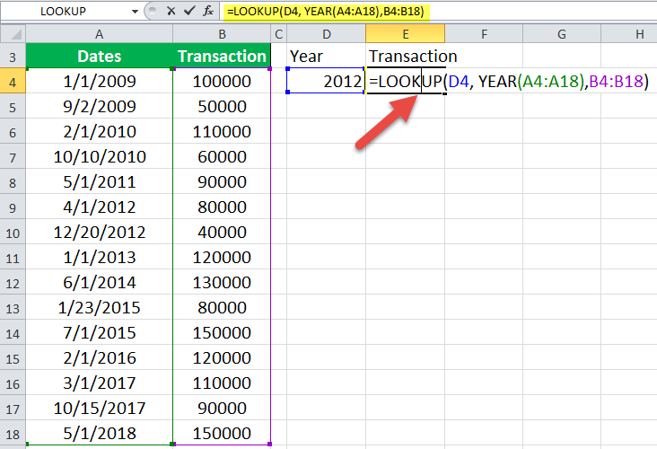 LOOKUP Function Example 2-1