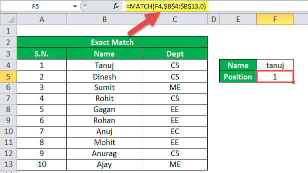 MATCH Function Example 1