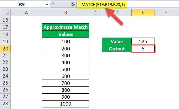 MATCH Function Example 2