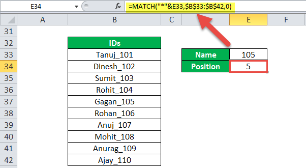 MATCH Function Example 3