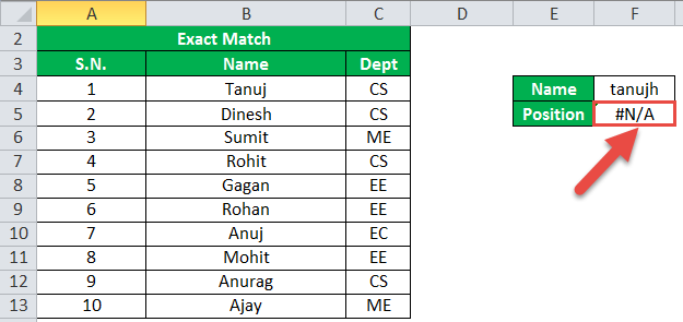 MATCH Function Example 5