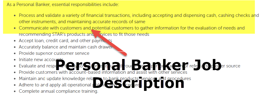 job description for personal banker