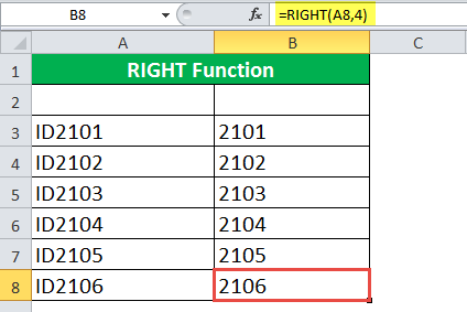 RIGHT Function Example 2-2