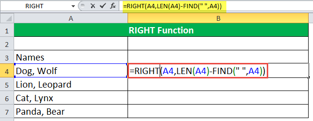 RIGHT Function Example 4-1