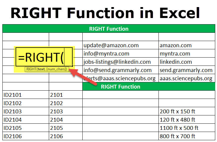 RIGHT Function in Excel