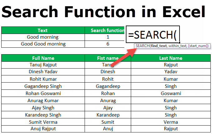search function in excel  formula  examples