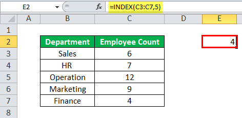 INDEX Function Example 1 1 1