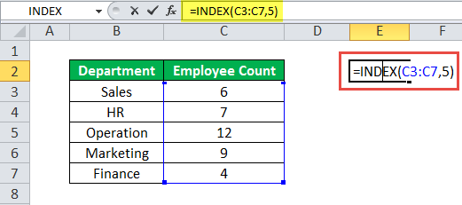INDEX Function Example 1
