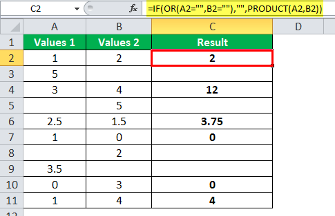 PRODUCT Function example 3