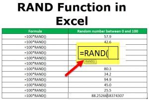 RAND Excel Function