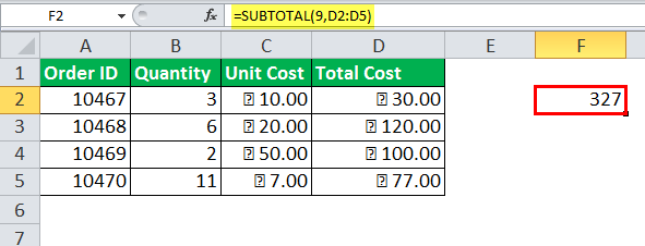 Excel SUBTOTAL Function Example 9