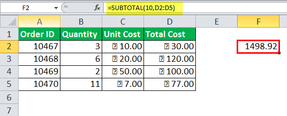 Excel SUBTOTAL Function Example 10