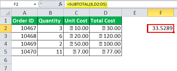 Excel SUBTOTAL Function Example 8