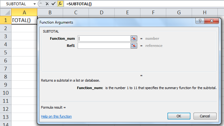 Step 2 to Open SUBTOTAL Function