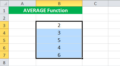 AVERAGE Function Illustration 1