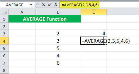 AVERAGE Function Illustration 4