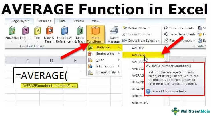 Average Function in Excel (Formula, Examples) | How to Use ...