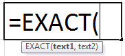 EXACT function excel (syntax)