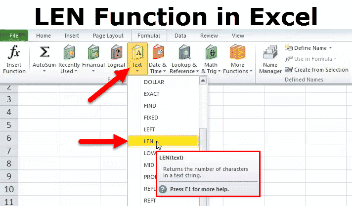 LEN in Excel (Formula, Examples) | How to Use LENGTH Function?