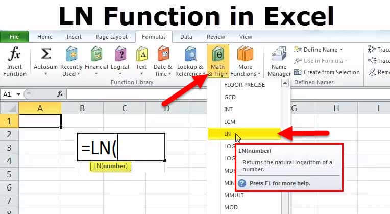 LN Function in Excel