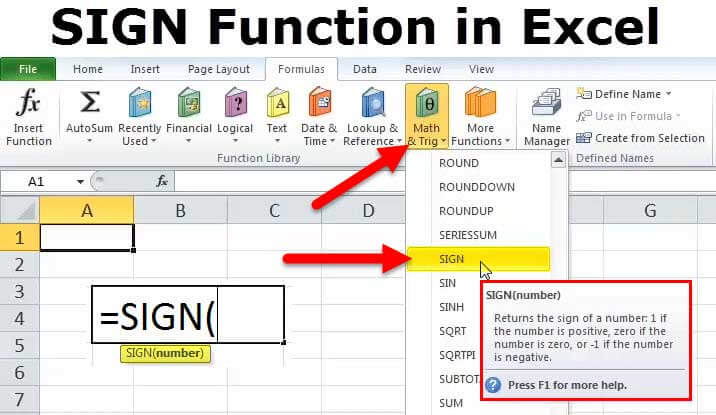 sign in excel examples formulas how to use sign function in excel