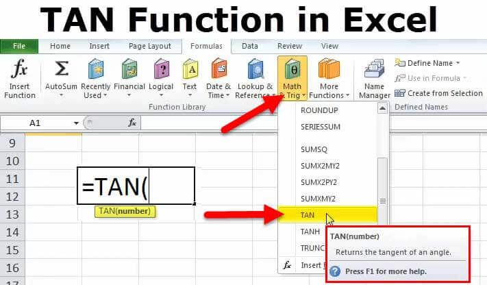 TAN Function in Excel