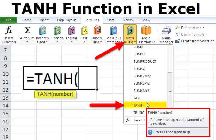 TANH Function in Excel