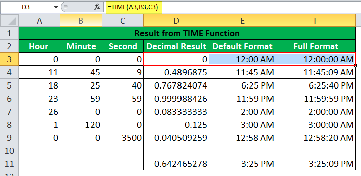 TIME Function Example1