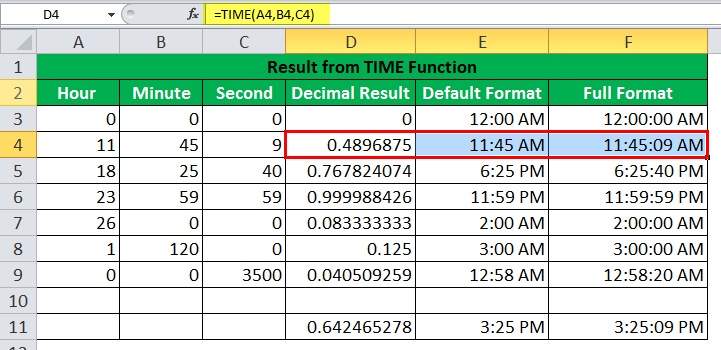 TIME Function Example2