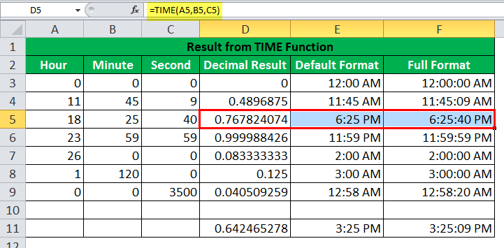 TIME Function Example3
