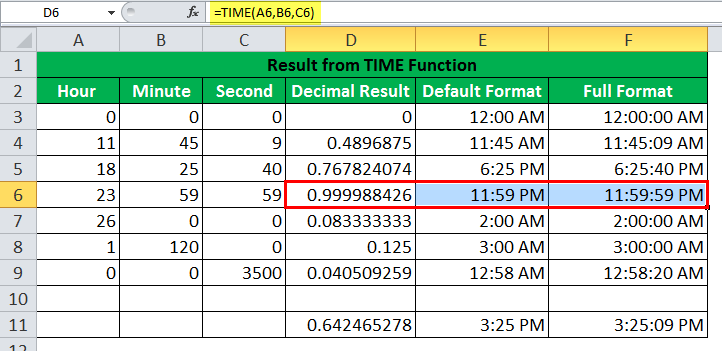 TIME Function Example4