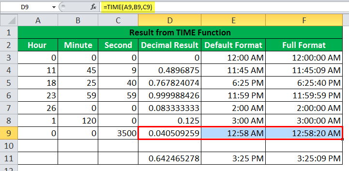 TIME Function Example7