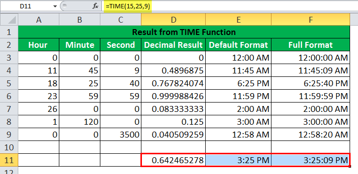 TIME Function Example8