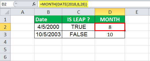 DATE Function in Excel Example 1