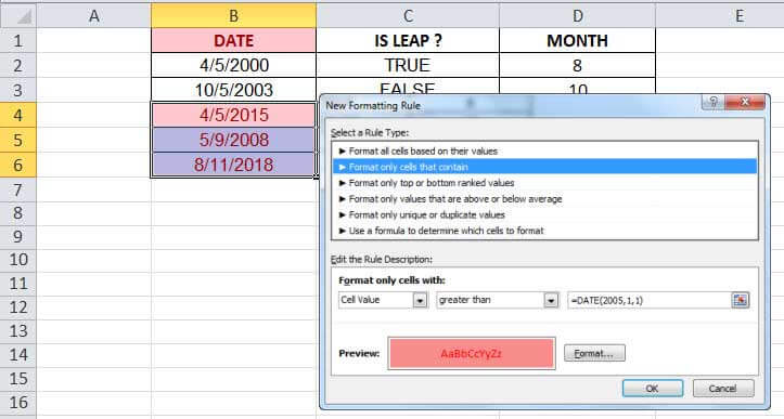 DATE Function in Excel Example 3